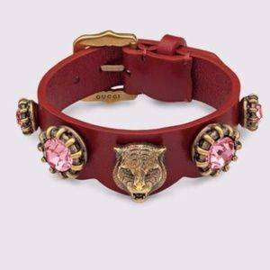 NEW Gucci Red Tiger Head Leather Buckle Bracelet
